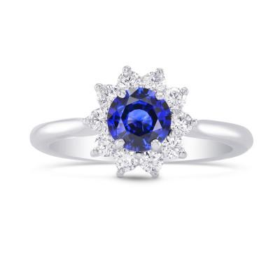 Round Sapphire & Diamond Halo Dress Ring (1.02Ct TW)