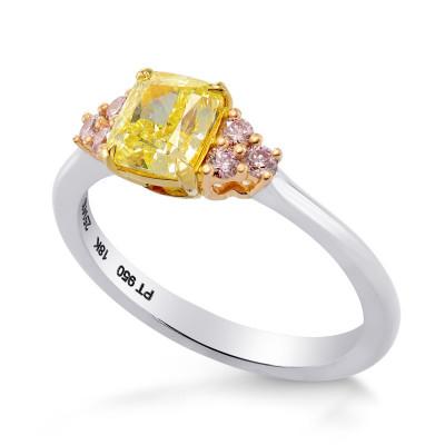 Fancy Yellow Cushion & Pink Diamond Engagement Ring (1.17Ct TW)