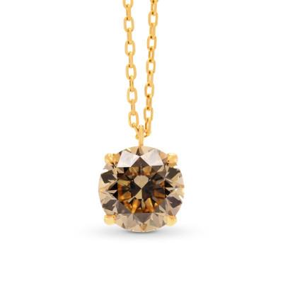 Light Brown Round Diamond Solitaire Pendant (2.01Ct)