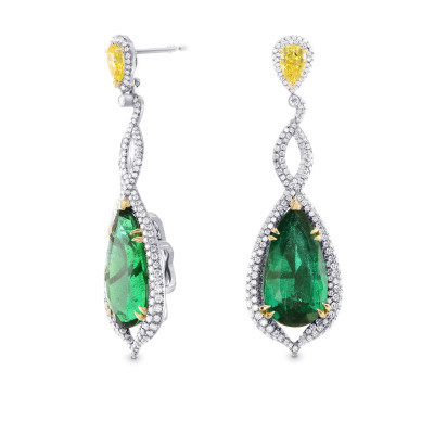 Green Emerald & Canary Yellow Diamond Drop Earrings (17.91Ct TW)