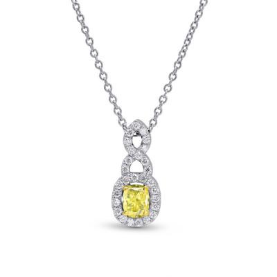 Fancy Yellow Cushion Diamond Halo Cross-over Pendant (1.15Ct TW)