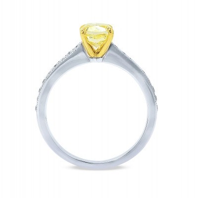 Fancy Intense Yellow Cushion Diamond Pave Milgrain Ring (0.84Ct TW)