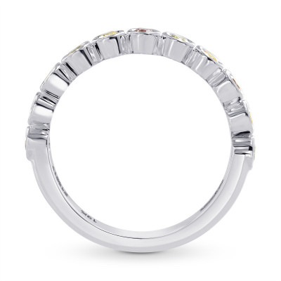 11 Stone Multicolored Diamond Stackable Bezel Band Ring (0.30Ct TW)