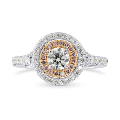 Round White and Pink Diamond Double Halo Ring (0.87Ct TW)