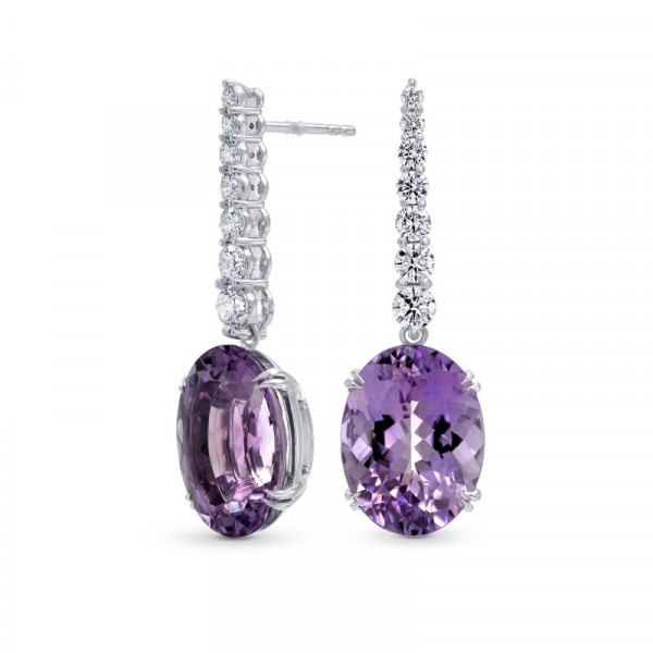 Amethyst & Diamond Oval Drop Earrings (17.87Ct TW)