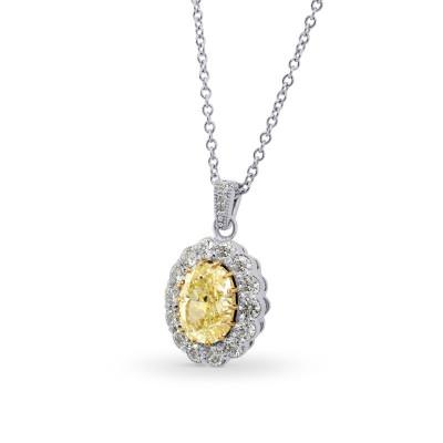 Fancy Yellow Oval Diamond Drop Halo Pendant (1.30Ct TW)