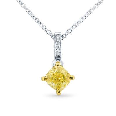 Fancy Intense Yellow Cushion Diamond Drop Pendant (0.72Ct TW)