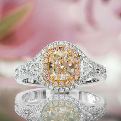 Faint Pink Radiant & Triangle Diamond Ring (1.66Ct TW)