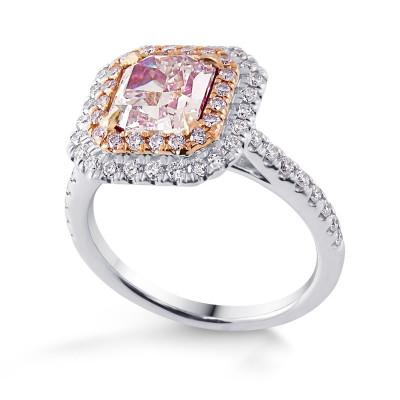 Extraordinary Fancy Purplish Pink and Diamond Double Halo Ring (2.35Ct TW)