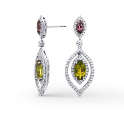 Tsavorite, Tourmaline & Diamond Drop Earrings (4.68Ct TW)