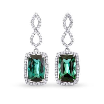 Green Tourmaline & Diamond Drop Earrings (6.91Ct TW)