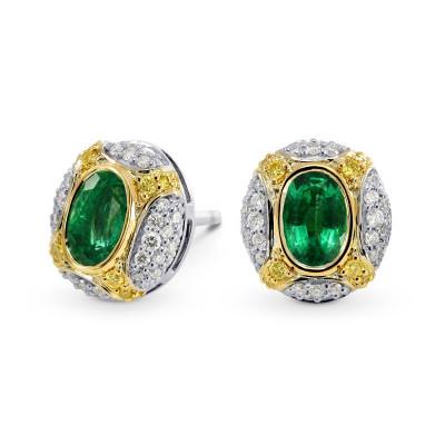 Oval Emerald and Fancy Intense Yellow Diamond Earrings (1.25Ct TW)