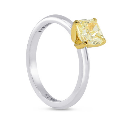 1 Carat Fancy Yellow Cushion Diamond V-Style Solitaire Ring (1.00Ct)