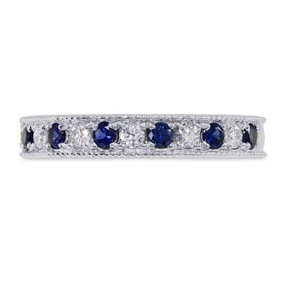 Milgrain Sapphire and Diamond Band Ring (0.50Ct TW)