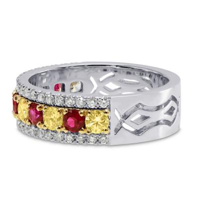 Ruby & Fancy Intense Yellow Diamond Band ring (1.20Ct TW)
