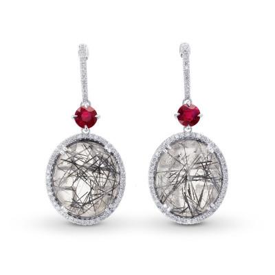 Needle Tourmaline, Ruby & Diamond Drop Earrings (22.64Ct TW)