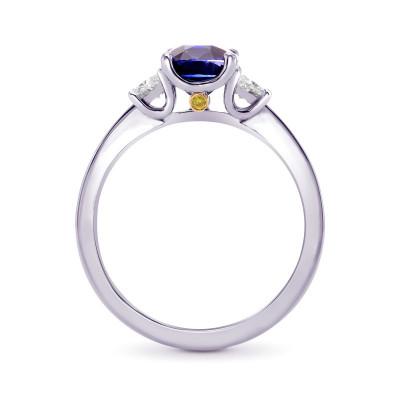 Unheated Blue Sapphire Cushion & Trapezoid Diamond 3 stone Ring with Yellow Diamond Accent (2.16Ct TW)