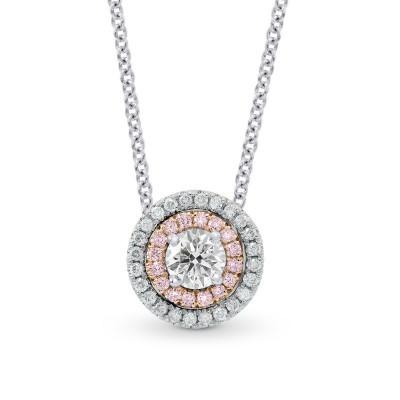 White Pink & White Diamond Round Double Halo Pendant (0.69Ct TW)