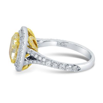 Fancy Intense Yellow Cushion  Diamond Double Halo Ring (2.10Ct TW)