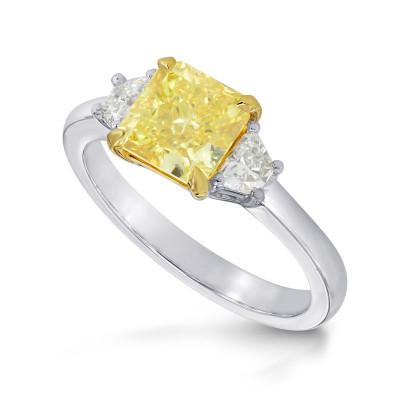 Fancy Yellow Radiant & Trapezoid Diamond Ring (1.60Ct TW)