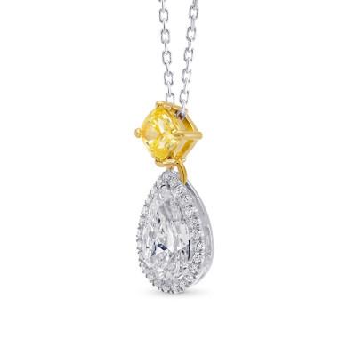 White Pear and Fancy Vivid Yellow Diamond Pendant (1.50Ct TW)