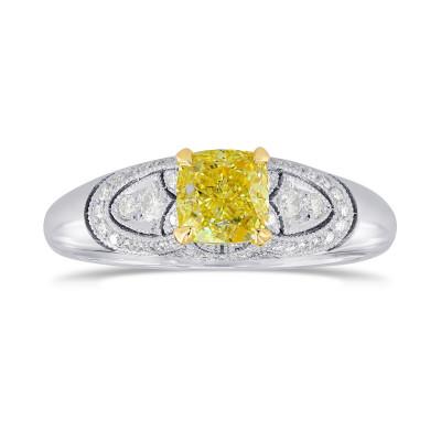 Fancy Yellow Cushion Diamond Art Deco Ring (0.89Ct TW)