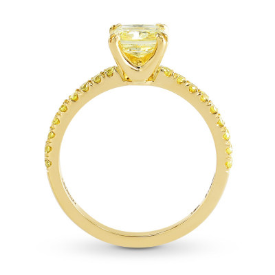 Fancy Intense Yellow Cushion Side Stones Ring (1.27Ct TW)