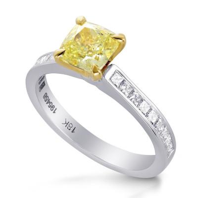 Fancy Yellow Cushion & Princess Diamond Ring (0.65Ct TW)
