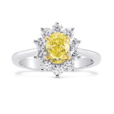 Fancy Yellow Oval Diamond Halo Ring (1.59Ct TW)
