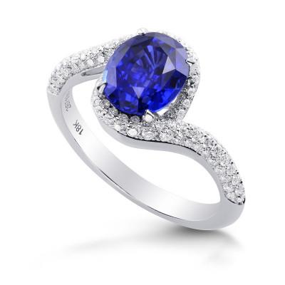 Oval Sapphire & Diamond Cross-over Halo Ring (2.62Ct TW)