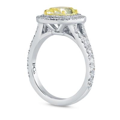 2 Carat Fancy Intense Yellow Cushion Diamond Double Halo Ring (2.75Ct TW)