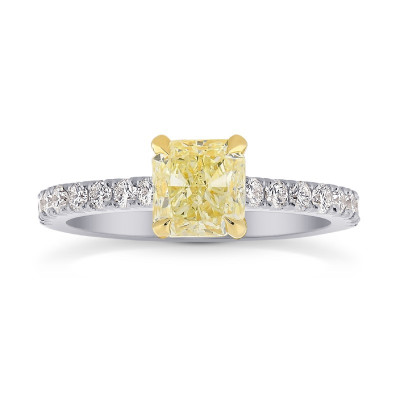 Fancy Yellow Cushion & Pave Diamond Ring (1.50Ct TW)