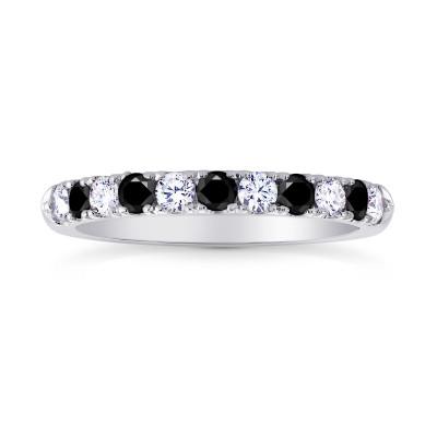 Black Diamond Half-Eternity Wedding Band Ring (0.45Ct TW)