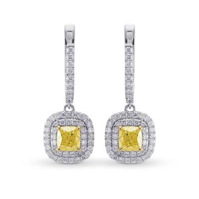 Fancy Yellow Diamond Halo Drop Earrings (2.05Ct TW)
