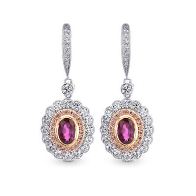 Oval Ruby & Pink Diamond Drop Halo Earrings (1.67Ct TW)