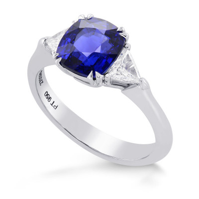 Cushion Blue Sapphire & Collection Triangle 3 stone Diamond Ring (2.89Ct TW)