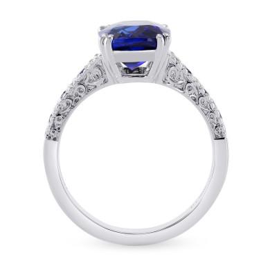Vivid Blue Cushion Sapphire & Diamond Side stone Ring (3.93Ct TW)