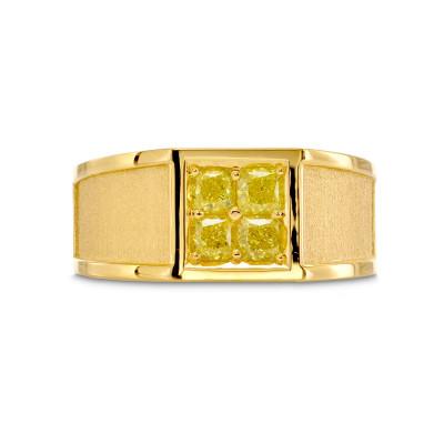 Fancy Yellow Cushion Diamond Mens Ring (0.90Ct TW)