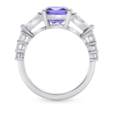 Tanzanite Cushion & Collection Marquise Side Stone Diamond Ring (3.37Ct TW)