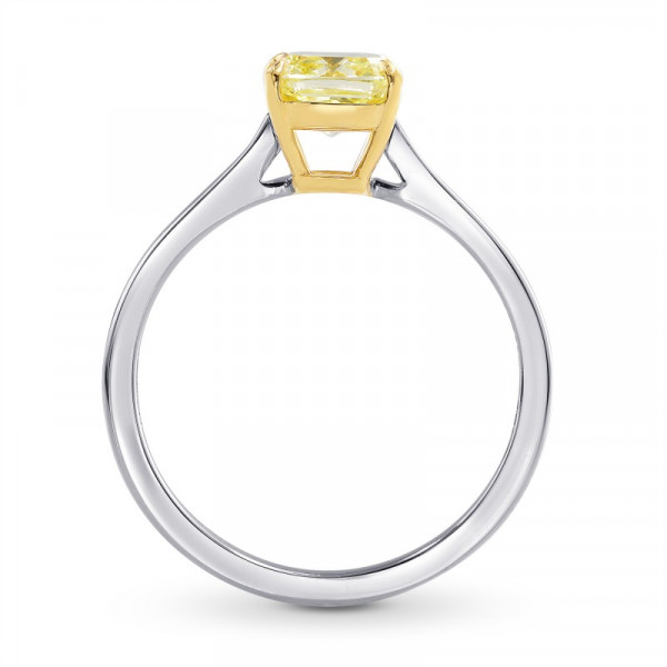 Fancy Light Yellow Cushion Diamond Solitaire Ring (1.50Ct)