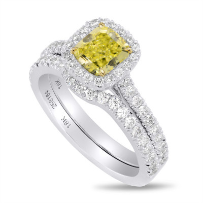 Fancy Intense Yellow Cushion Diamond Halo Ring with Matching Wedding Band (1.60Ct TW)