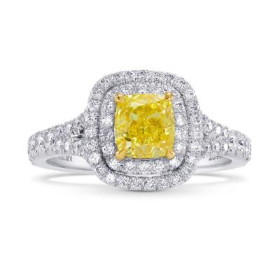 Fancy Intense Yellow Cushion Diamond Double Halo Engagement & Wedding Ring Set (1.85Ct TW)