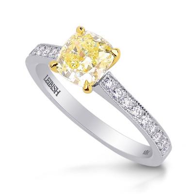 Fancy Yellow Cushion Diamond Engagement & Wedding Ring Set (0.99Ct TW)