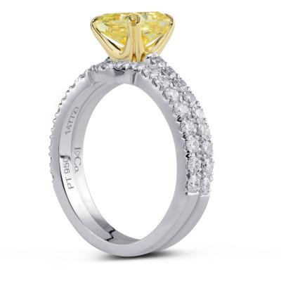 Fancy Yellow Radiant Diamond Engagement & Wedding Ring Set (2.18Ct TW)