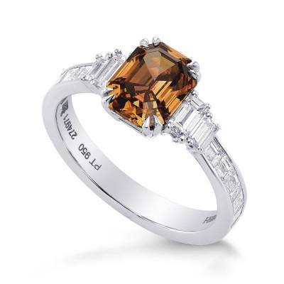 Fancy Deep Brown-Orange Emerald Cut and Baguette Diamond Side Stones Ring (1.96Ct TW)