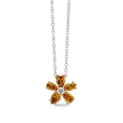 Orange Diamond Flower Pendant (0.63Ct TW)