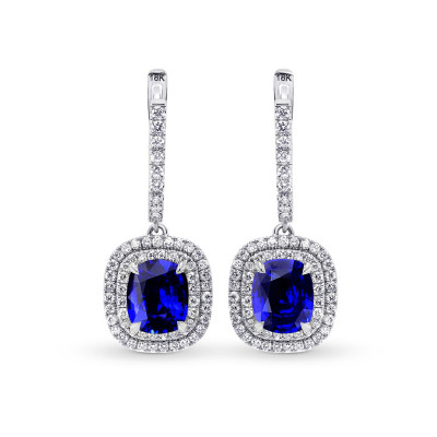 Royal Blue Sapphire & Diamond Drop Halo Earrings (6.81Ct TW)