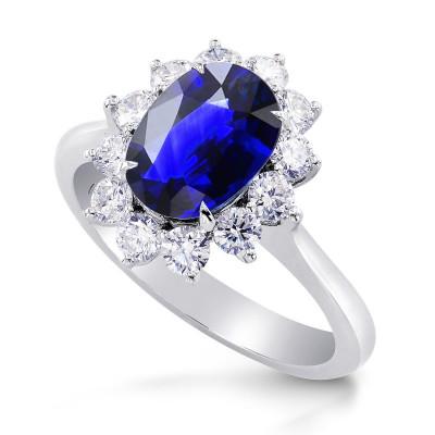 Royal Vivid Blue Sapphire & Diamond (Diana) Ring (3.10Ct TW)