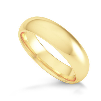 Comfort Fit Domed Wedding Band-5.0MM