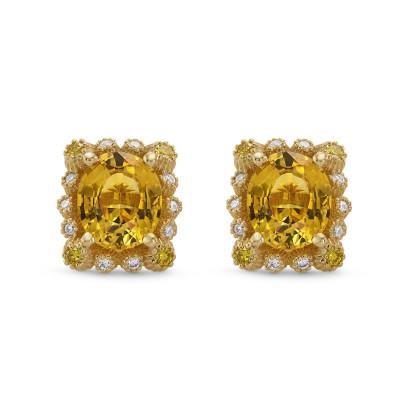 Yellow Sapphire & Diamond Halo Earrings (1.66Ct TW)